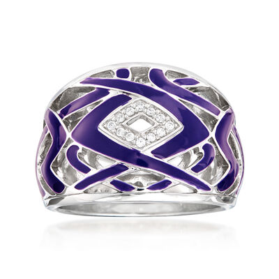 "Belle Etoile ""Virago"" Twilight Blue Enamel Ring in Sterling Silver"