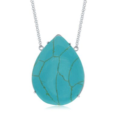 Pear-Shaped Simulated Turquoise Necklace in Sterling Silver, , default