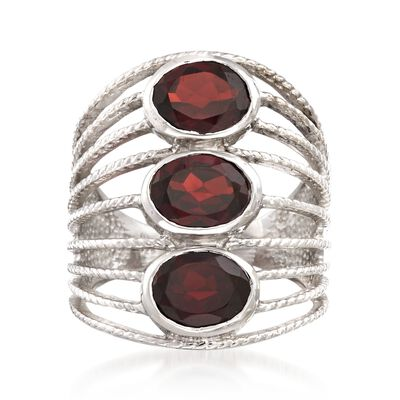 4.60 ct. t.w. Garnet Multi-Row Ring in Sterling Silver, , default