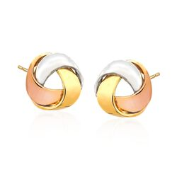 14kt Tri-Colored Gold Love Knot Ribbon Earrings, , default