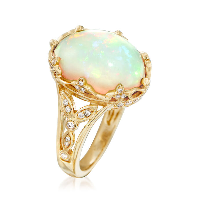 Ethiopian Opal and .28 ct. t.w. Diamond Ring in 14kt Yellow Gold