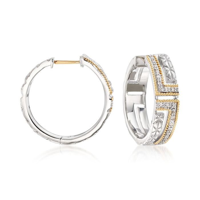 """Andrea Candela """"Laberinto"""" .10 ct. t.w. Diamond Hoop Earrings in 18kt Gold and Sterling Silver, , default"""