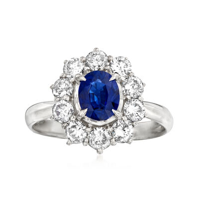 C. 1990 Vintage 1.07 Carat Sapphire and 1.05 ct. t.w. Diamond Ring in Platinum