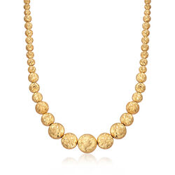 Italian 18kt Yellow Gold Graduated Bead Necklace, , default