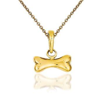 "14kt Yellow Gold Dog Bone Pendant Necklace. 18"", , default"