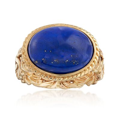 Lapis Byzantine-Link Ring in 14kt Yellow Gold, , default