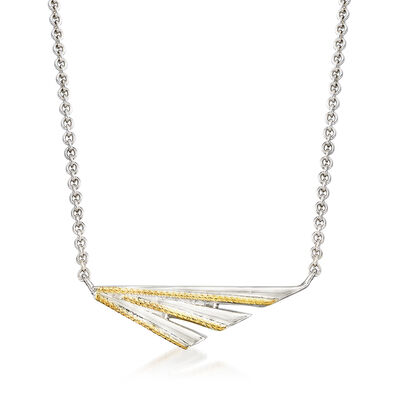 "Andrea Candela ""Pegasus"" Sterling Silver and 18kt Yellow Gold Fan-Style Necklace, , default"