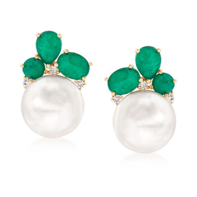 Cultured Pearl and .80 ct. t.w. Emerald Doublet Earrings with .17 ct. t.w. Diamonds in 14kt Yellow Gold, , default