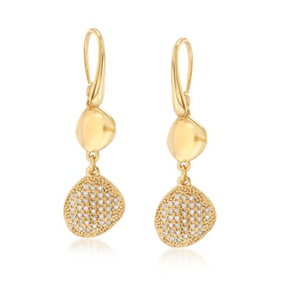 Italian .75 ct. t.w. CZ Free-Form Drop Earrings in 18kt Gold Over Sterling, , default