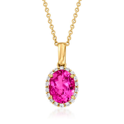C. 1990 Vintage 1.79 Carat Pink Tourmaline and .20 ct. t.w. Diamond Pendant Necklace in 14kt Yellow Gold