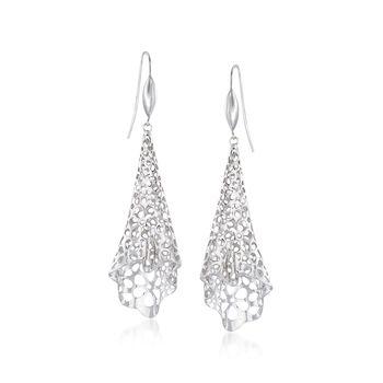 Sterling Silver Floral Openwork Free-Form Drop Earrings, , default