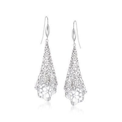 Sterling Silver Floral Openwork Free-Form Drop Earrings, , default