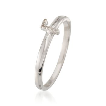 """Diamond Accent Mini Initial """"R"""" Ring in Sterling Silver"""