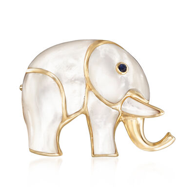 Carved Mother-Of-Pearl Elephant Pin with Sapphire Accent and 14kt Yellow Gold