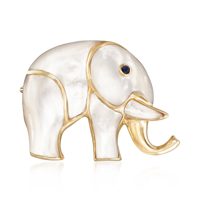 Carved Mother-Of-Pearl Elephant Pin with Sapphire Accent and 14kt Yellow Gold, , default