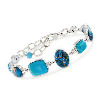 "Multi-Shape Turquoise Bracelet in Sterling Silver. 7"", , default"