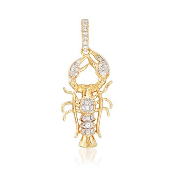 .24 ct. t.w. Diamond Lobster Pendant in 14kt Yellow Gold, , default