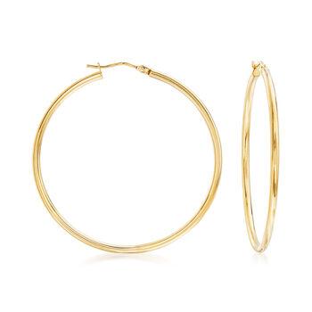 """Italian 2mm 18kt Yellow Gold Hoop Earrings. 1 3/4"""", , default"""