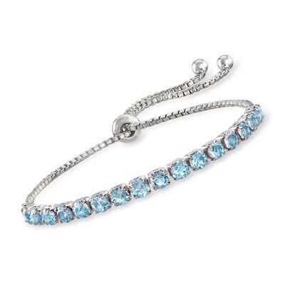 Swarovski Crystal Blue Bolo Bracelet in Sterling Silver, , default