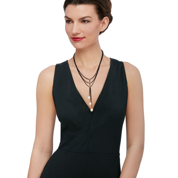 """10-10.5mm Cultured Pearl and 60.00 ct. t.w. Black Spinel Lariat Necklace in 14kt Yellow Gold. 18"""", , default"""