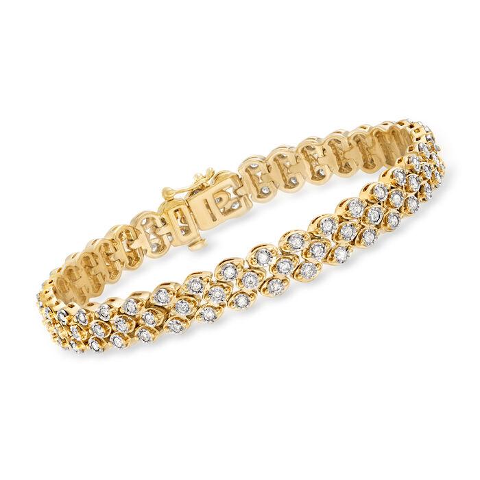 2.00 ct. t.w. Diamond Triple-Row Bracelet in 18kt Gold Over Sterling