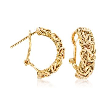 "14kt Yellow Gold Byzantine Omega Hoop Earrings. 3/4"", , default"