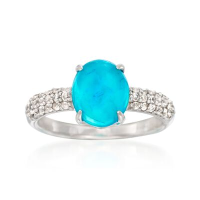 Blue Opal and .60 ct. t.w. White Zircon Ring in Sterling Silver, , default