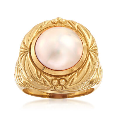C. 1980 Vintage 12mm Mabe Pearl Ring in 18kt Yellow Gold, , default