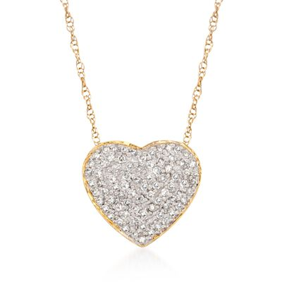 .25 ct. t.w. Diamond Heart Pendant Necklace in 14kt Yellow Gold, , default
