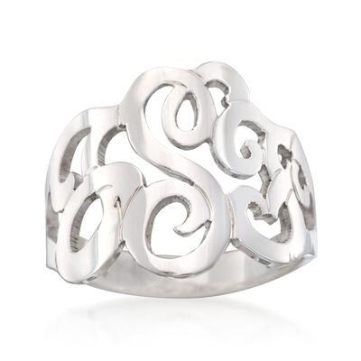 Sterling Silver Open Script Monogram Ring, , default