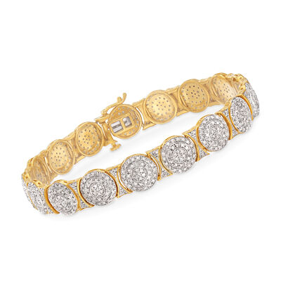 2.00 ct. t.w. Diamond Circle Link Bracelet in 18kt Gold Over Sterling