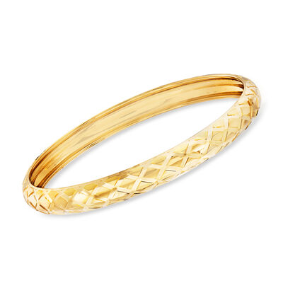 Italian 18kt Yellow Gold Basketweave Bangle Bracelet, , default