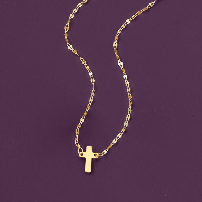 Italian 14kt Yellow Gold Cross Necklace