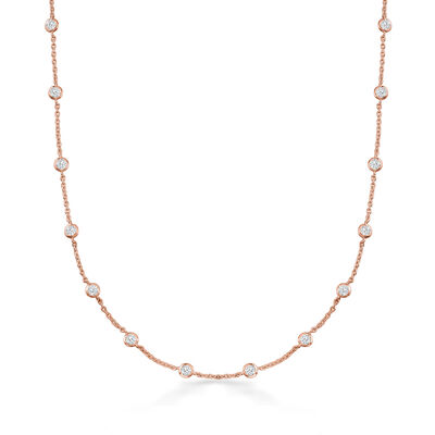 4.50 ct. t.w. CZ Station Necklace in 18kt Rose Gold Over Sterling