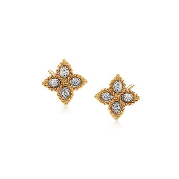 """Roberto Coin """"Princess"""" 18kt Yellow Gold Flower Stud Earrings With Diamond Accents, , default"""