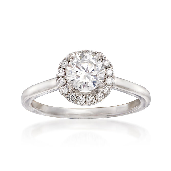 .20 ct. t.w. Diamond Halo Engagement Ring Setting in 14kt White Gold, , default