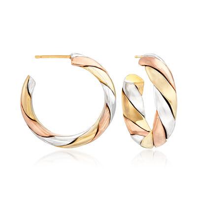 C. 1980 Vintage 18kt Tri-Colored Gold Hoop Earrings