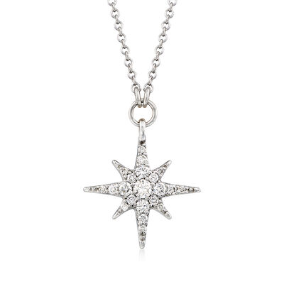 Gabriel Designs .25 ct. t.w. Diamond Starburst Necklace in 14kt White Gold