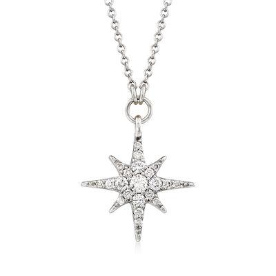 Gabriel Designs .25 ct. t.w. Diamond Starburst Necklace in 14kt White Gold, , default