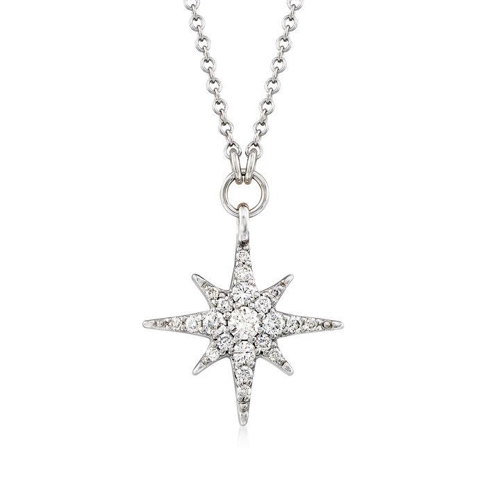 Gabriel Designs .25 ct. t.w. Diamond Starburst Necklace in 14kt White Gold