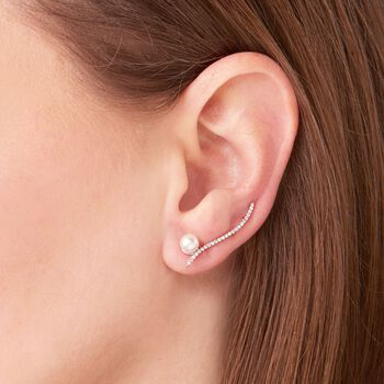 5.5mm Cultured Pearl and .30 ct. t.w. White Topaz Ear Crawlers in Sterling Silver, , default