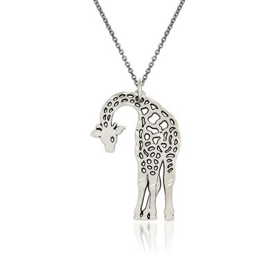 14kt White Gold Giraffe Pendant Necklace
