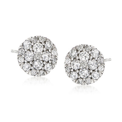 .50 ct. t.w. Diamond Cluster Stud Earrings in 14kt White Gold, , default