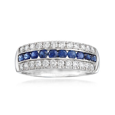 .54 ct. t.w. Diamond and .50 ct. t.w. Sapphire Ring in 18kt White Gold, , default