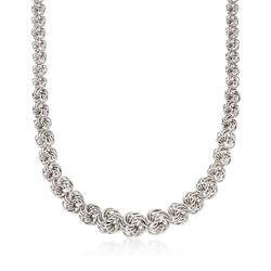 Sterling Silver Graduated Rosette-Link Necklace, , default
