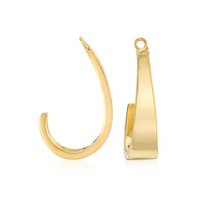 14kt Yellow Gold J-Hoop Earring Jackets , , default
