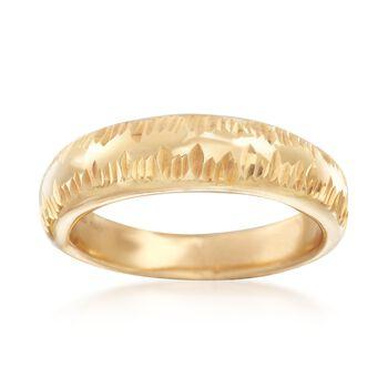 Italian 18kt Gold Over Sterling Silver Diamond-Cut Ring, , default