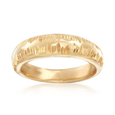 Italian 18kt Gold Over Sterling Silver Diamond-Cut Ring, , default