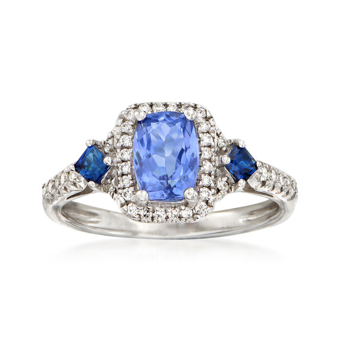 1.00 Carat Tanzanite, .20 ct. t.w. Sapphire and .17 ct. t.w. Diamond Ring in 14kt White Gold