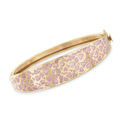Italian 14kt Yellow Gold and Pink Enamel Bangle Bracelet, , default